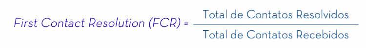 A imagem expões como calcular o Índice de First Contact Resolution (FCR)